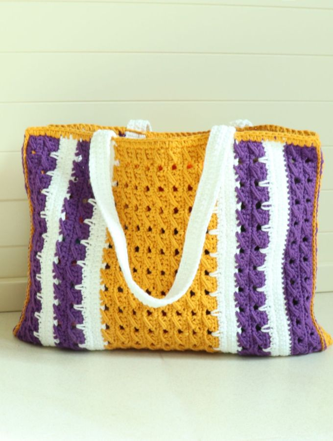Lakers Crochet Market Tote Bag- Free Pattern 1a.