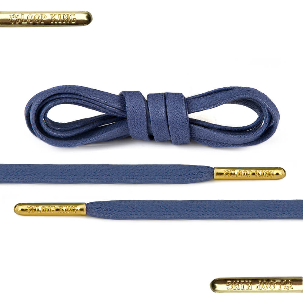 Flat Waxed Blue Shoe Laces With Gold Tips