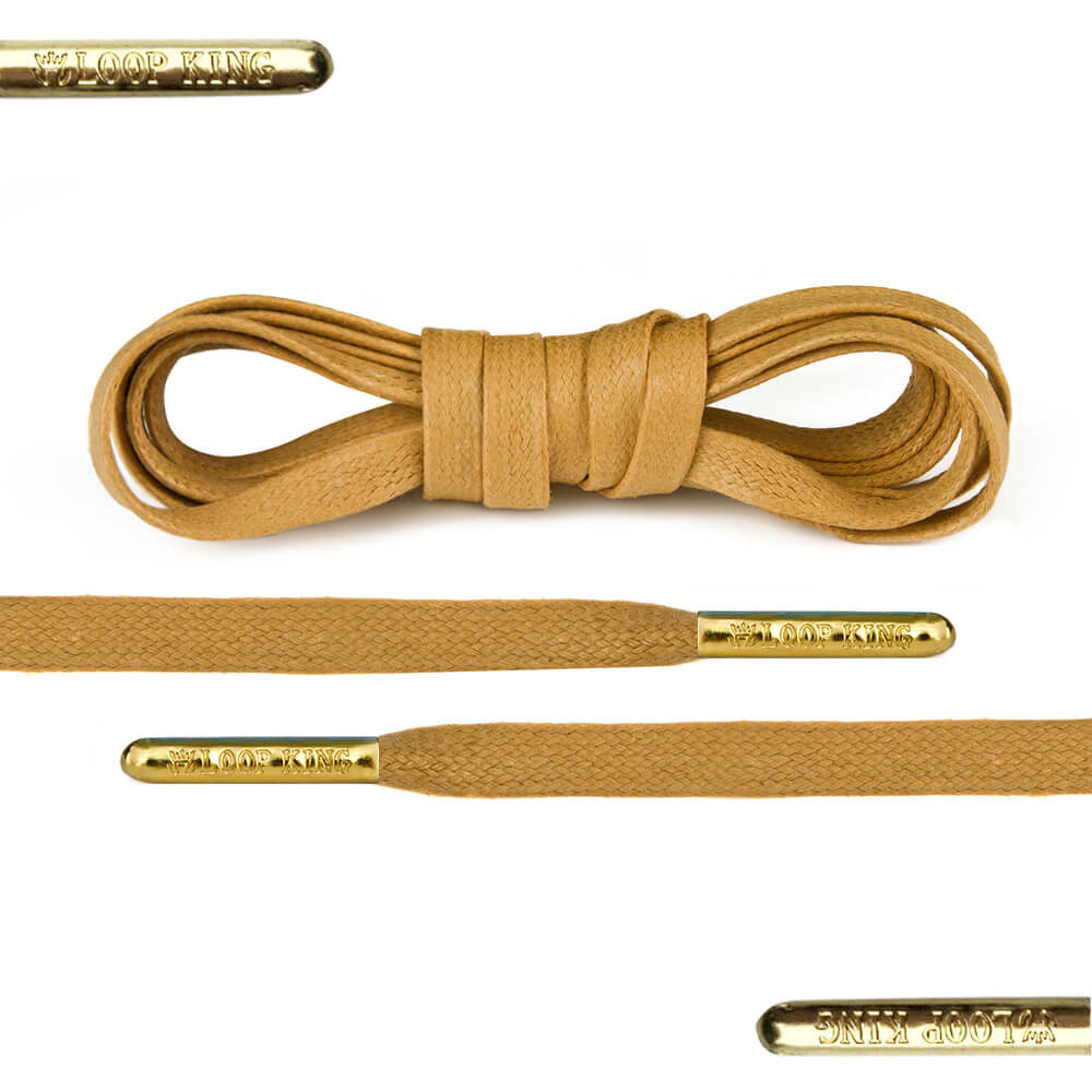 Flat Waxed Tan Shoe Laces With Gold Tips