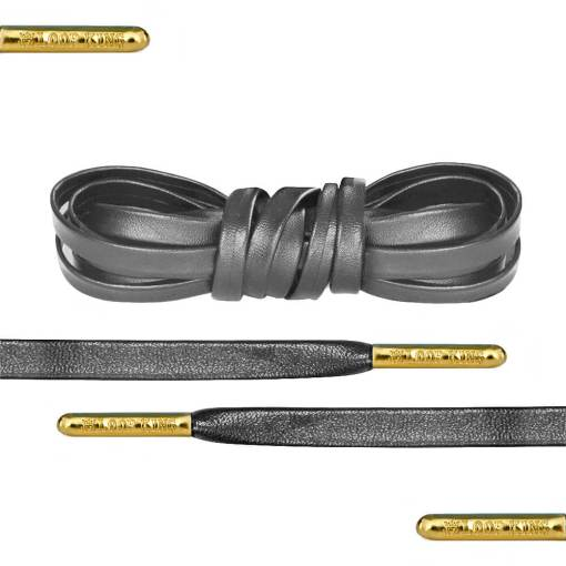 Luxury Grey Leather Shoe Laces With Gold Tips