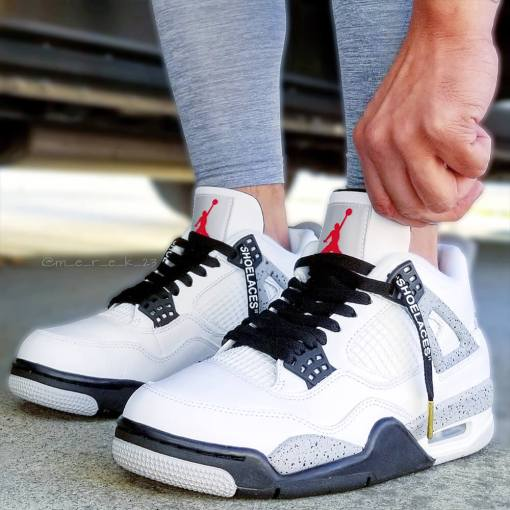 black off white shoelaces in jordan cements
