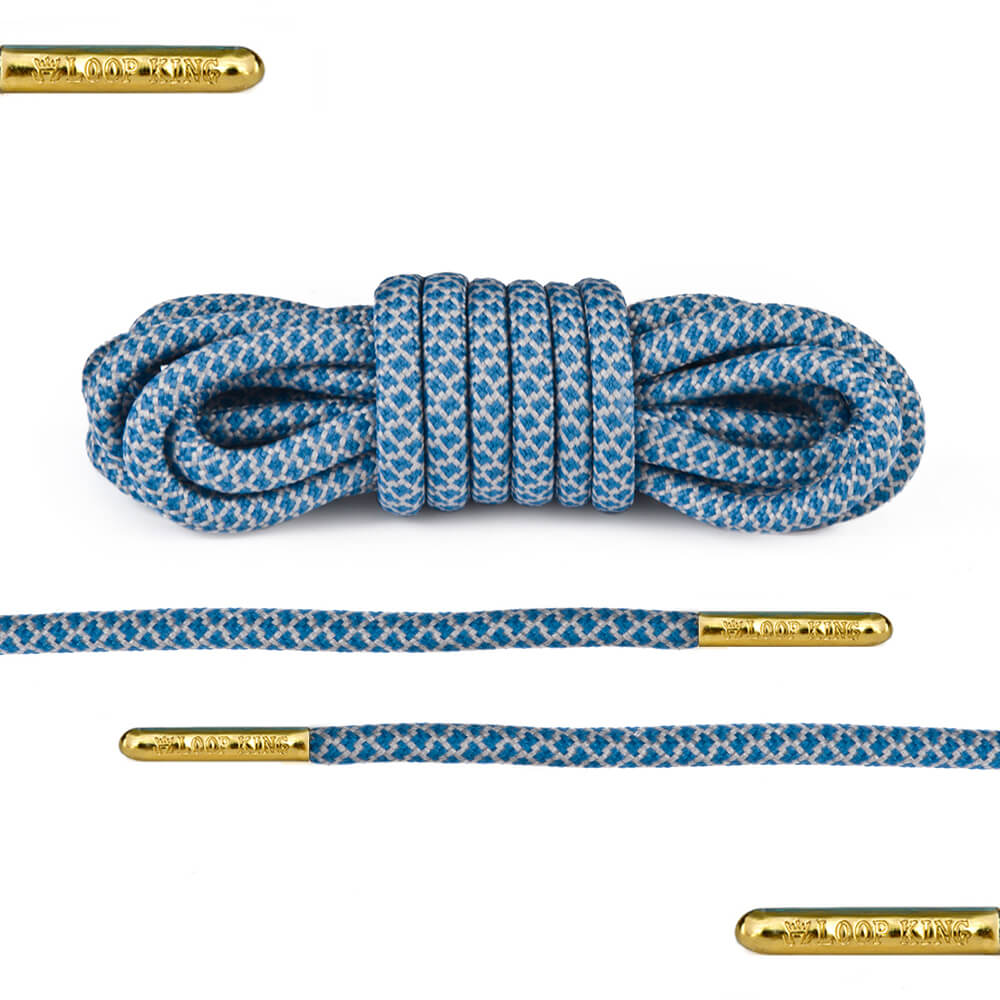 blue grey rope round shoelaces