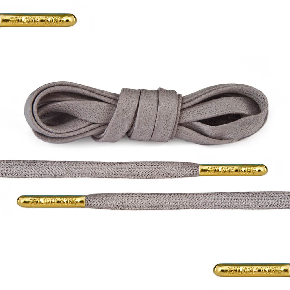 flat waxed grey shoe laces