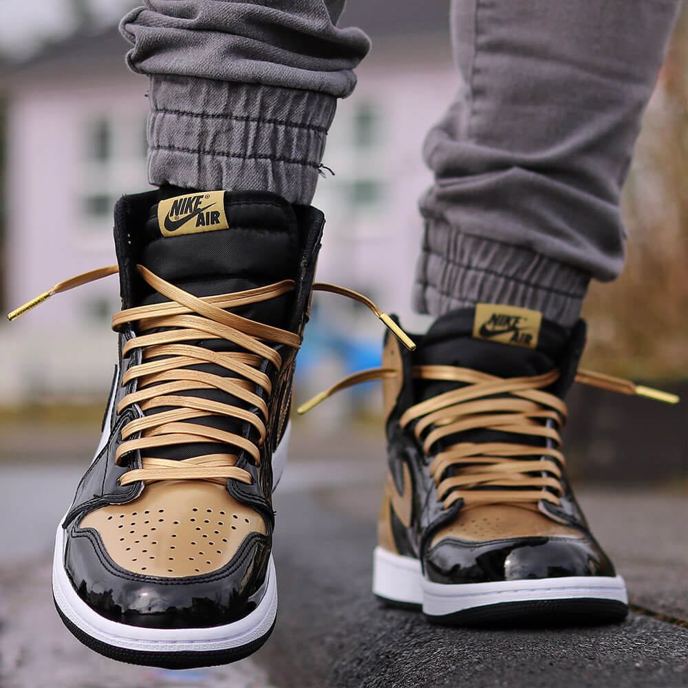 Luxury Gold Leather Shoe Laces - From
