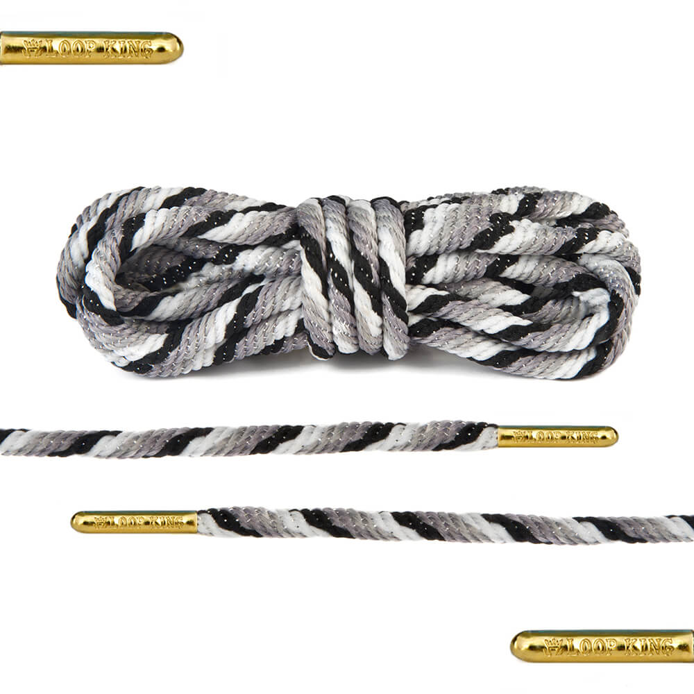 grey black white rope round shoelaces