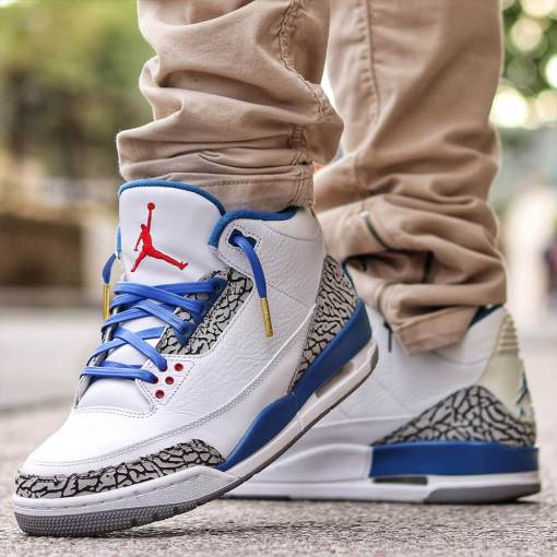 jordan 3 with royal blue leather laces gold tips