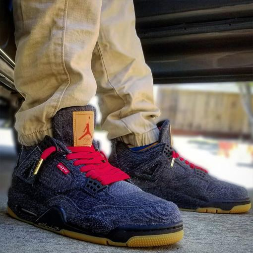 levis jordan 3 red flat waxed laces with gold tips 2