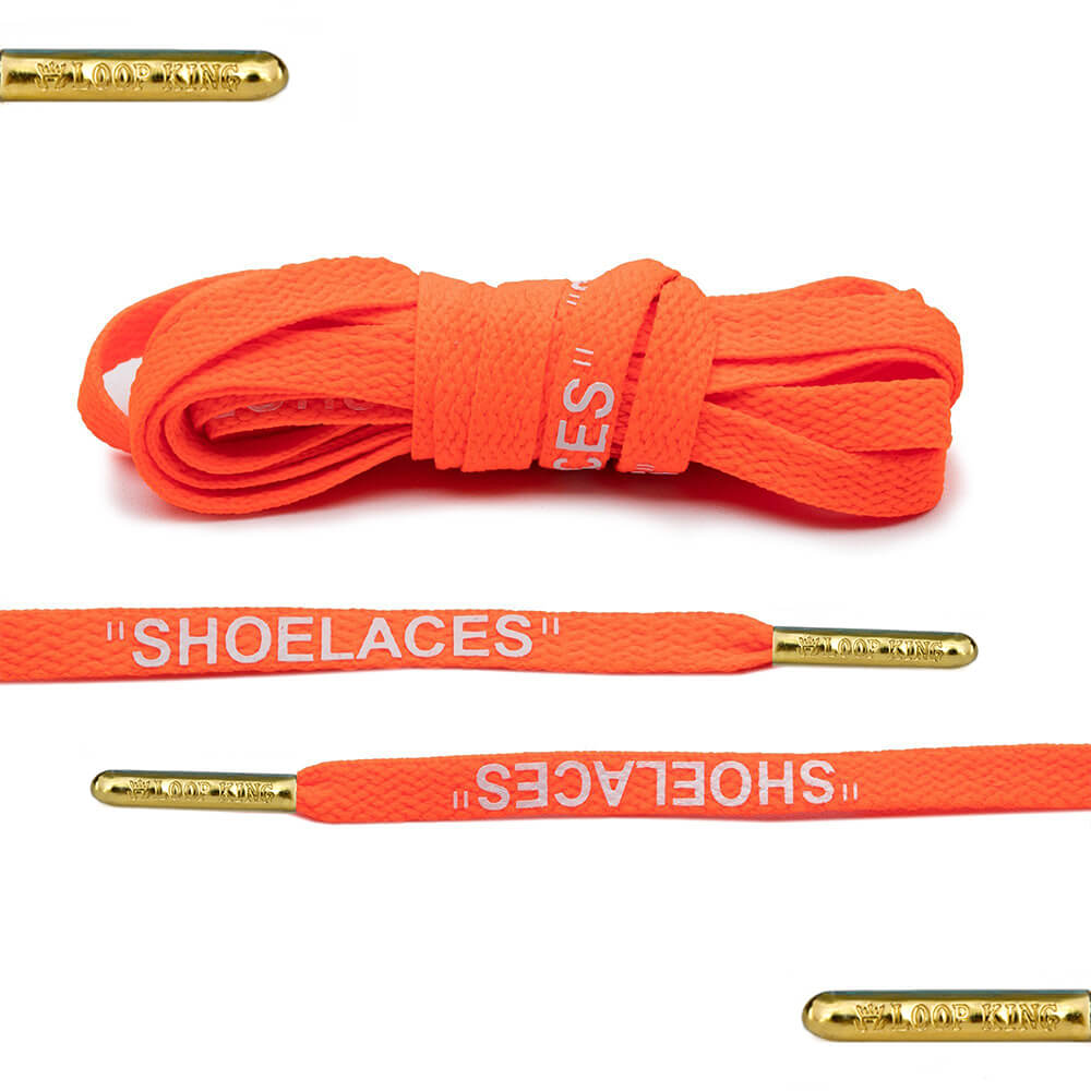 orange off-white shoelaces gold tips