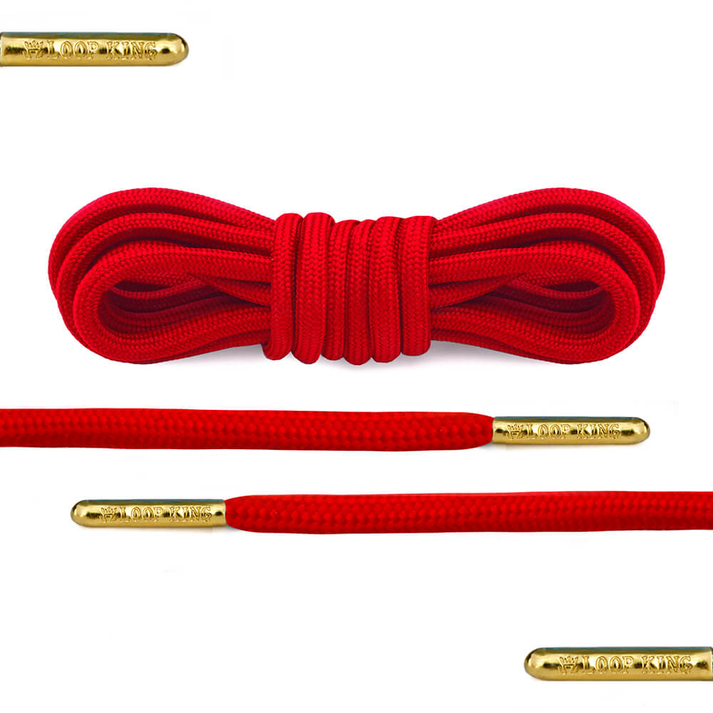 red rope round shoelaces