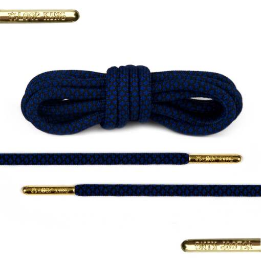 rope blue black shoe laces with gold tips