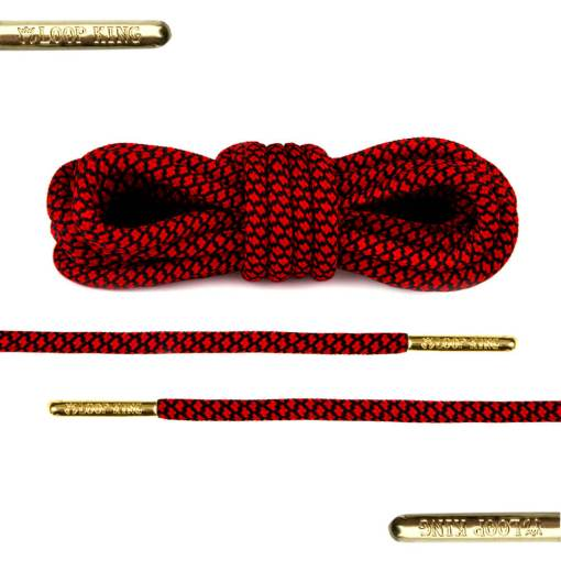 rope red black shoe laces with gold tips