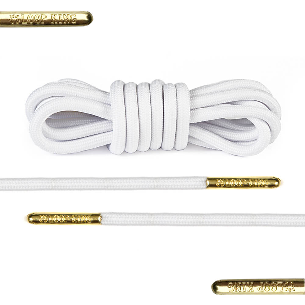 rope white shoe laces with gold tips