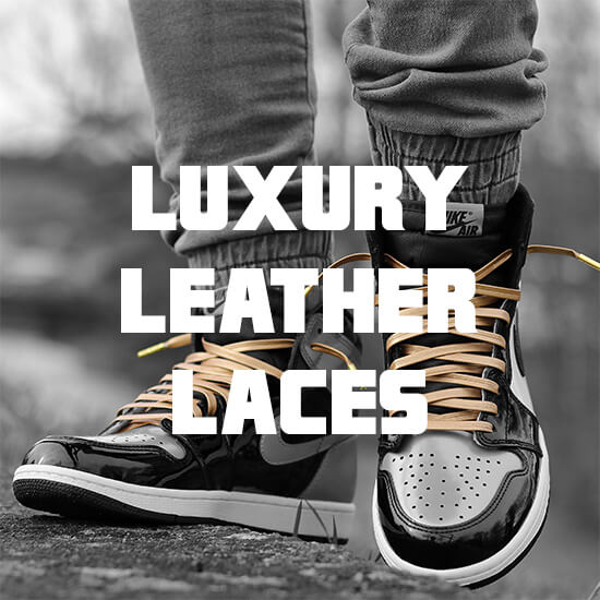 luxury leather shoelaces with gold tips banner