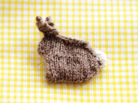 "This shows the ""wrong side"" of the bunny, all in knit stitches."