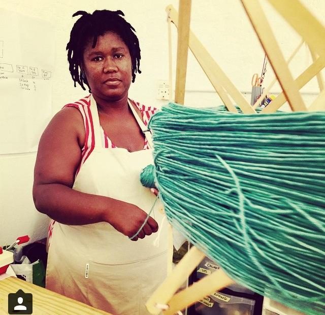 Cynthia at Cowgirlblues winding yarn