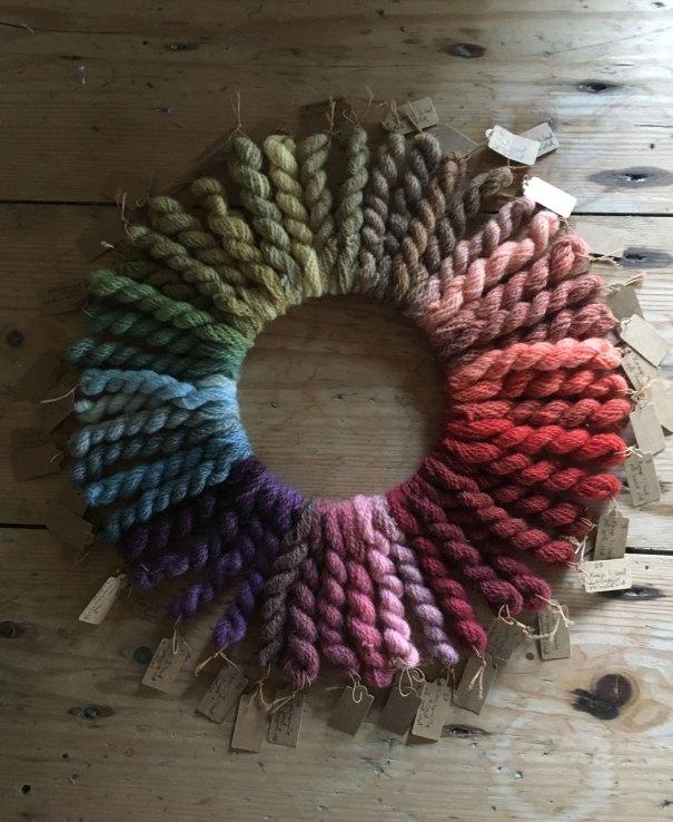 Mini Skeins of plant dyed wools by Mette Mehlsen for Loop London.