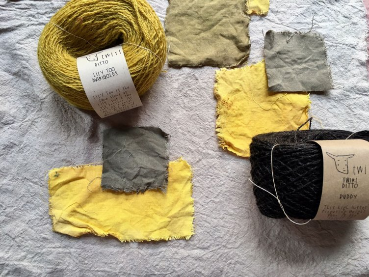 Naturally dyed Marigold and Buddy Twirl at Loop London