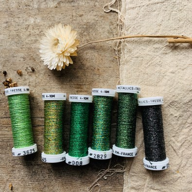 Au Ver A Soie Metallic thread set in Forest at Loop London