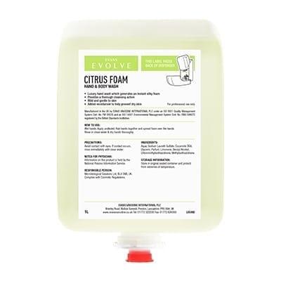 Evans - CITRUS FOAM Luxury Hand Wash - 6 x 1 litre
