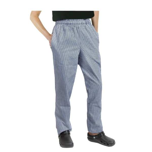 Chef Works Unisex Easyfit Pants Small Blue Check Polycotton - Size L-0