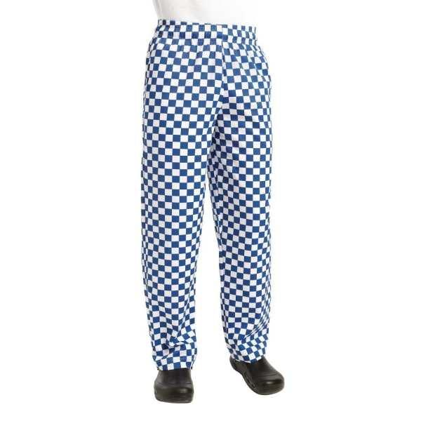 Chef Works Unisex Easyfit Pants Big Blue Check Polycotton - Size L-0