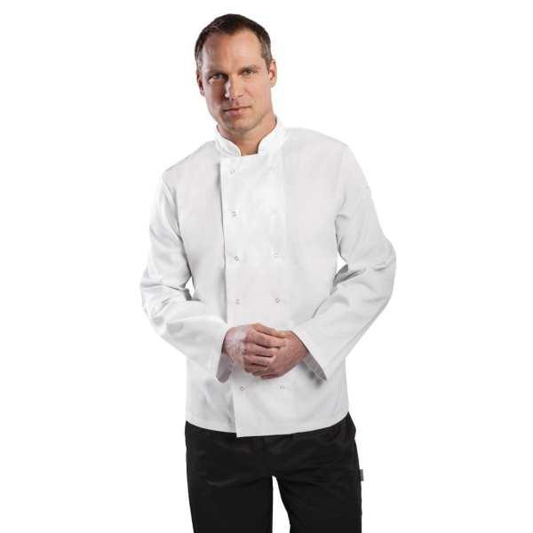 Vegas Chefs Jacket Long Sleeve White Polycotton - Size XL-0