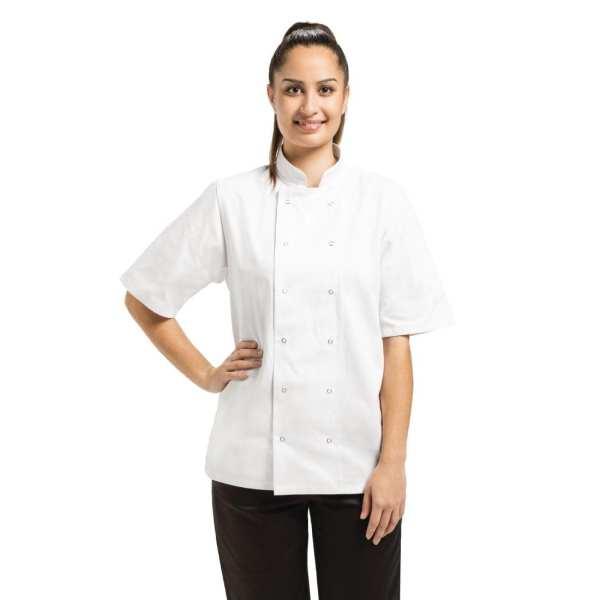 Vegas Chefs Jacket Short Sleeve White Polycotton - Size XXL-0