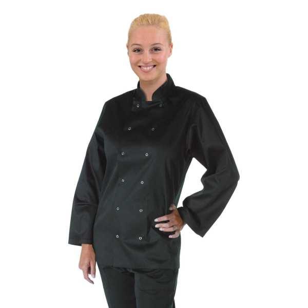 Vegas Chefs Jacket Long Sleeve Black Polycotton - Size L-0