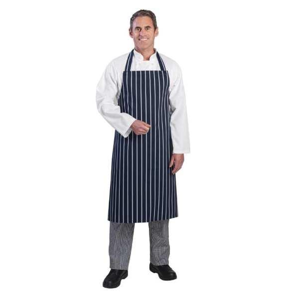 """Bib Apron Blue/White Butchers Stripe - 28-38""""-0"""
