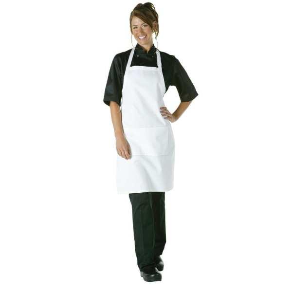 Chef Works Adjustable Neck Bib Apron White with Pockets-0