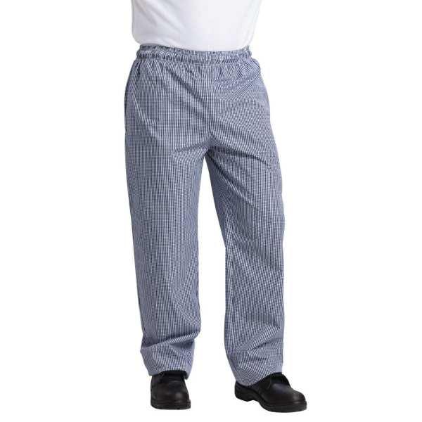 Vegas Small Blue & White Check Trousers Polycotton - Size XL-0