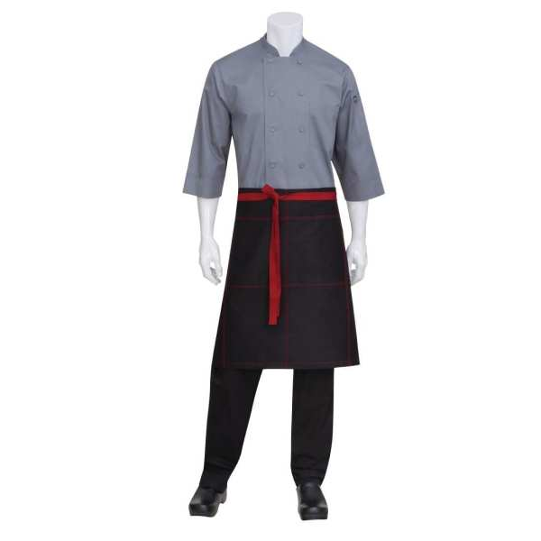 Chef Works Wide Half Bistro Apron with Contrast Ties (AW034) Red (B2B)-0