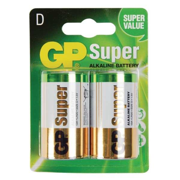 GP Battery Alkaline 'D' (Pack 2)-0