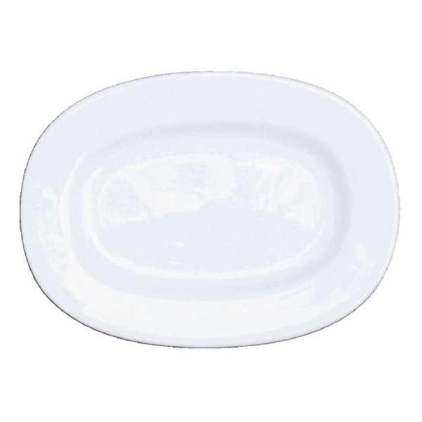 "Alchemy White Rimmed Oval Dish - 8"" (Box 12) (Direct)-0"