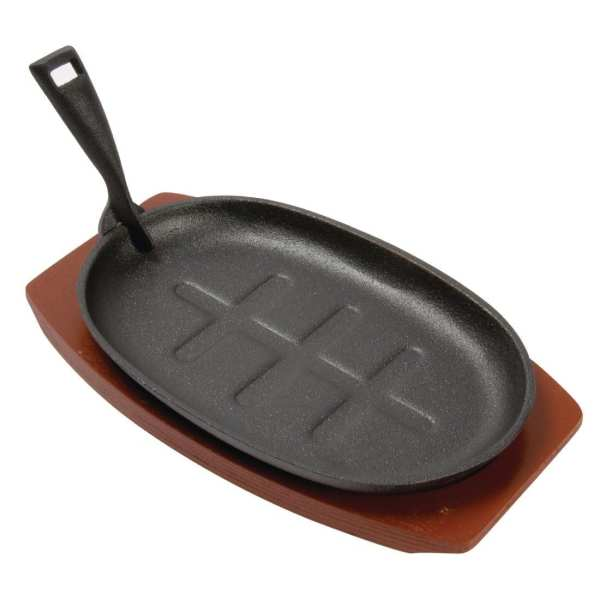 """Olympia Cast Iron Oval Sizzler - 280x190mm 11x7 1/2"""" with Wooden Stand-0"""