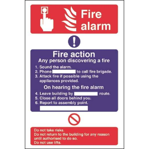 Fire Alarm/Fire Action - 300x200mm (Self Adhesive)-0
