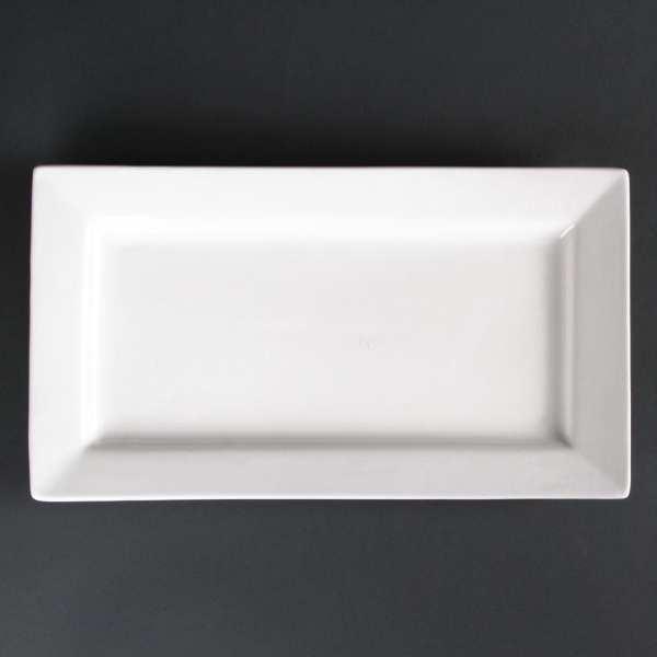 "Lumina Fine China Wide Rim Rectangular Plate - 315x175mm 12 1/4x6 3/4"" (Box 2)-0"