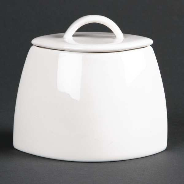 Lumina Fine China Oval Sugar Bowl with lid - 200ml 7oz (Box 6)-0