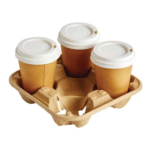 Moulded Pulp 4 cup Carry Tray (Box 180)-0