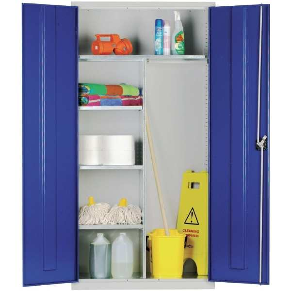 Janitorial Cupboard with Blue Doors - 1830x915x457mm (Direct)-0