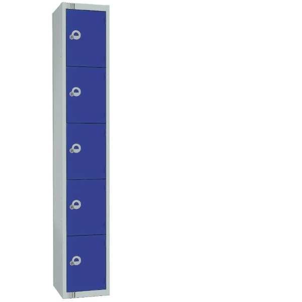 300mm Deep Locker 5 Door Padlock Blue with Sloping Top (Direct)-0