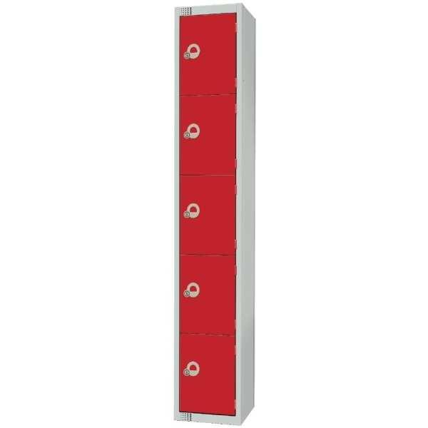 300mm Deep Locker 5 Door Padlock Red (Direct)-0