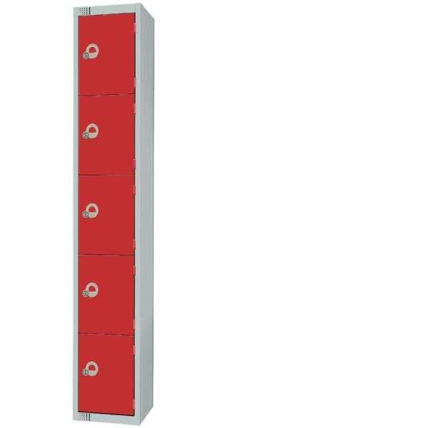300mm Deep Locker 5 Door Padlock Red with Sloping Top (Direct)-0