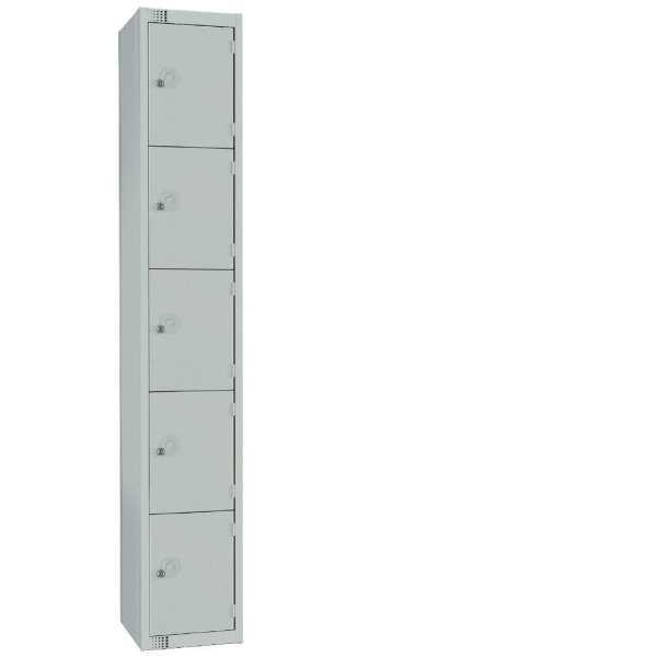 450mm Deep Locker 5 Door Camlock Mid Grey with Sloping Top (Direct)-0