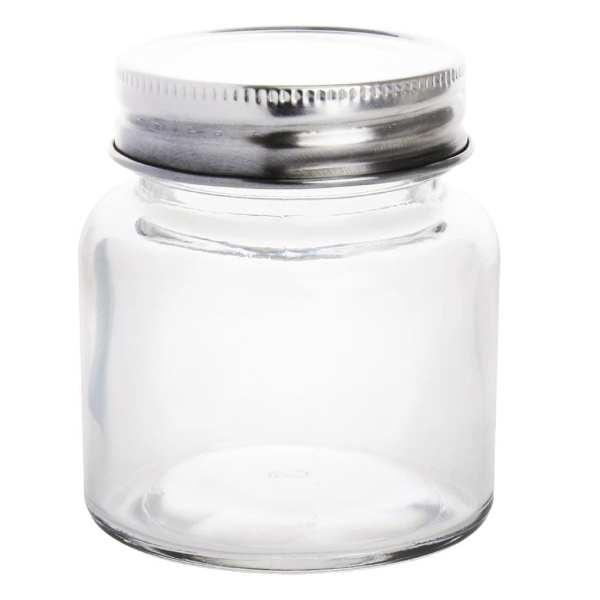 Vogue Glass Jar with St/St Lid - 55(dia)x65(h)mm 85ml 3oz (Box 12)-0