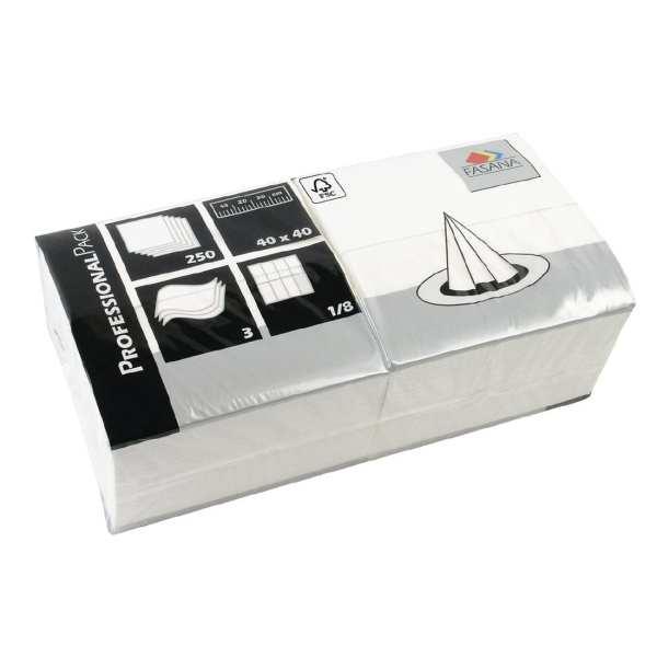 Fasana Professional Tissue Napkin White - 400x400mm 3 ply 1/8 fold (Box 1000)-0