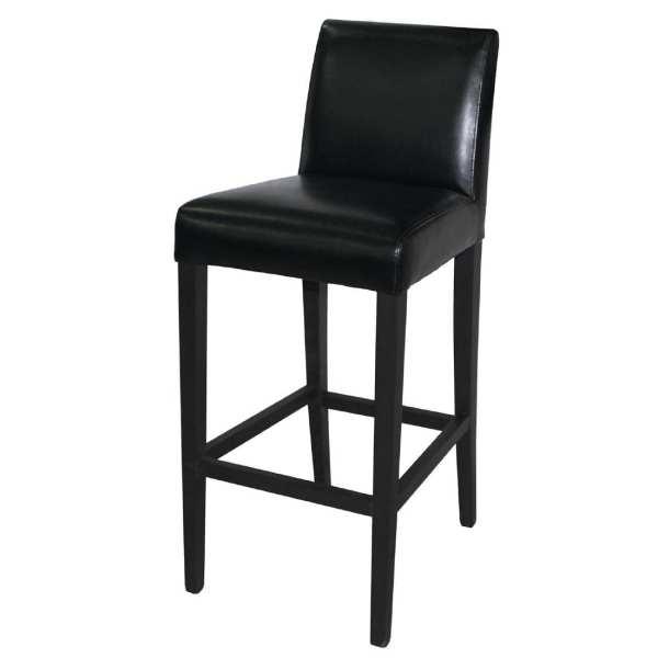 Bolero Faux Leather High Bar Stool with Full Back (Black)
