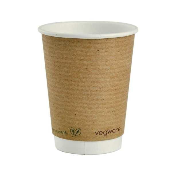 Vegware Hot Cup Kraft Double Wall - 12oz (Box 500)-0