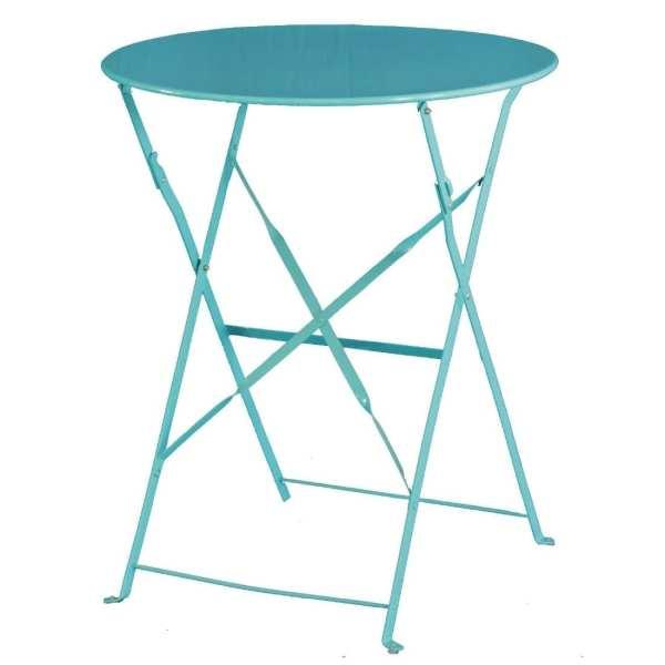 Bolero Seaside Blue Pavement Style Steel Table (600mm Round)-0