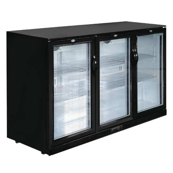 Polar Triple Hinged Door Back Bar Cooler 850mm - Black with LED Lighting-0